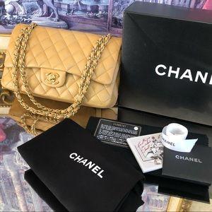 Chanel Beige Double Flap Medium 25